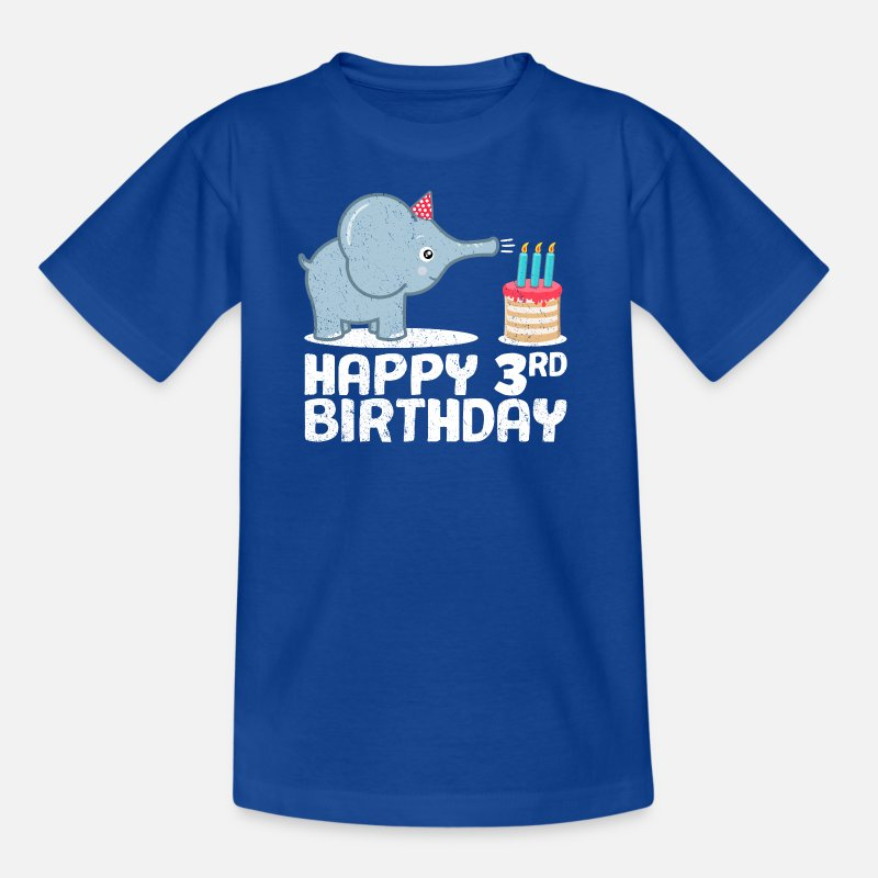 Happy Birthday 3rd Elephant Cake Candles Kids T Shirt