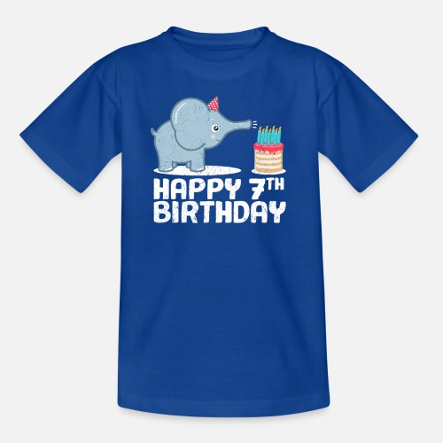 Kids T ShirtHappy Birthday 7th Elephant Cake Candles