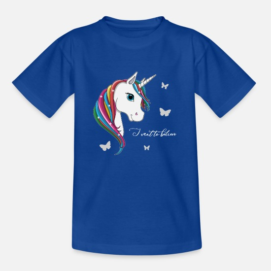 "Sister T-Shirts - lorey.w ""Unicorn - I want to believe"" - Kids' T-Shirt royal blue"