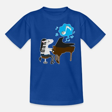 Zebras A zebra playing the piano - Kids' T-Shirt