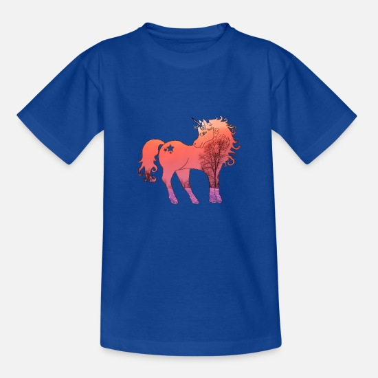 Love T-Shirts - Unicorn pink landscape - Kids' T-Shirt royal blue