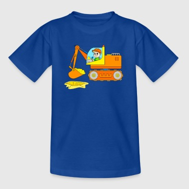 Excavator on the construction site - vehicle construction site - Kids' T-Shirt
