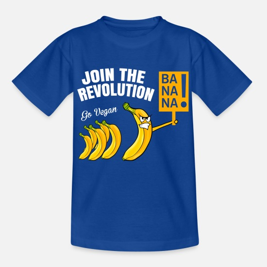 Banana T-Shirts - GO VEGAN Shirt · JOIN THE REVOLUTION · Gift - Kids' T-Shirt royal blue