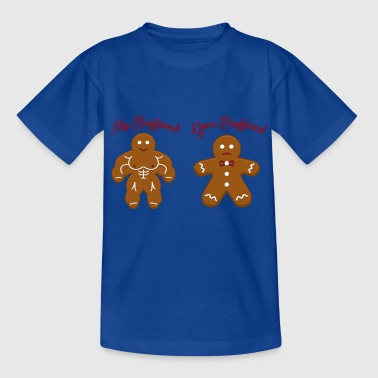 Bodybuilder Boyfriend Funny Christmas Gingerbread Man My Boyfriend Gift - Kids' T-Shirt
