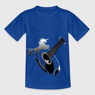 Acoustic guitar with unicorn - Kids' T-Shirt