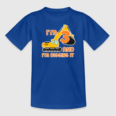 Excavator construction worker child birthday boy 3 years - Kids' T-Shirt
