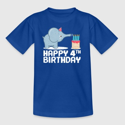 Happy Birthday! 4th birthday elephant cake candles - Kids' T-Shirt