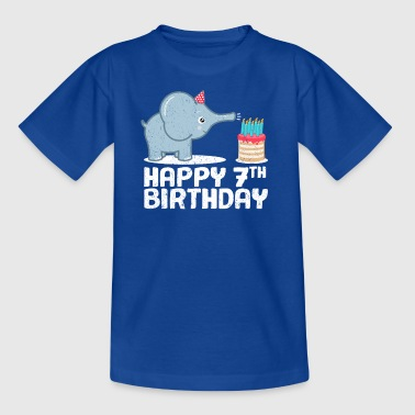 Happy Birthday! 7. Geburtstag Elefant Torte Kerzen - Kinder T-Shirt