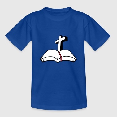 cross open bible 3c - Kids' T-Shirt