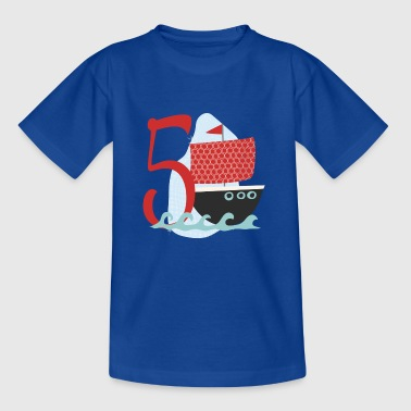 Birthday number 5 ship birthday shirt - Kids' T-Shirt