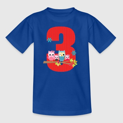 Birthday number 3 owl owl family - Kids' T-Shirt