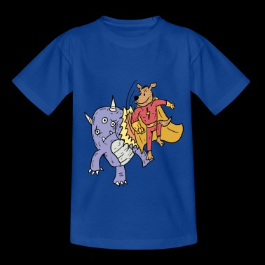 Superhero dog is fighting monsters - Kids' T-Shirt