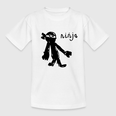 an awesome genuine kids drawing of a NINJA! - Kids' T-Shirt