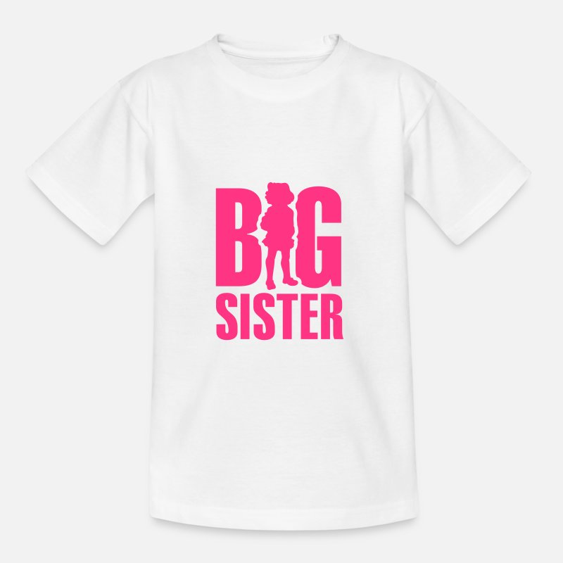 Big T-Shirts - Big Sister - Kinderen T-shirt wit