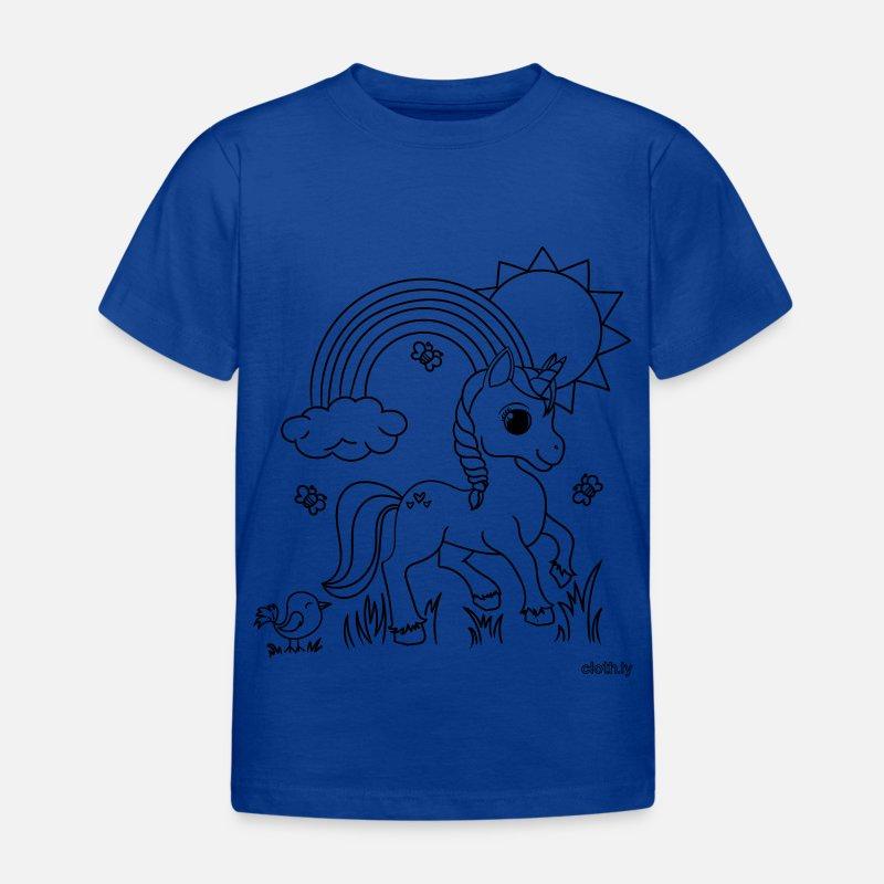 T Shirt Zum Ausmalen Und Bemalen Einhorn Kinder T Shirt Spreadshirt