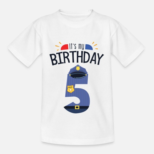 Kids T Shirt5th Birthday Boy Son Police Officer Gift