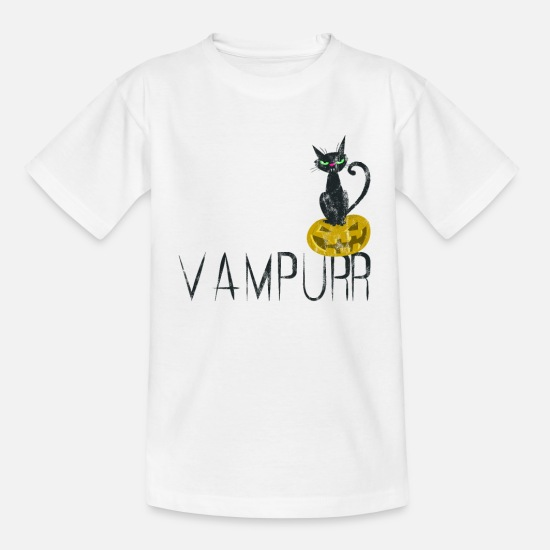Garlic T-Shirts - Vampurr Funny Halloween Vampire Cat Lover - Kids' T-Shirt white