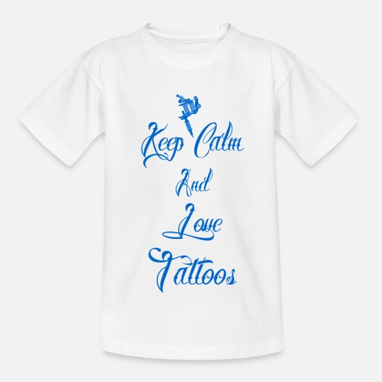 Lieben T-Shirts - keep calm love tattoos geschenk tätowiert queen - Kinder T-Shirt Weiß