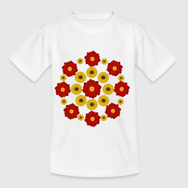 Flowers red and yellow - Børne-T-shirt