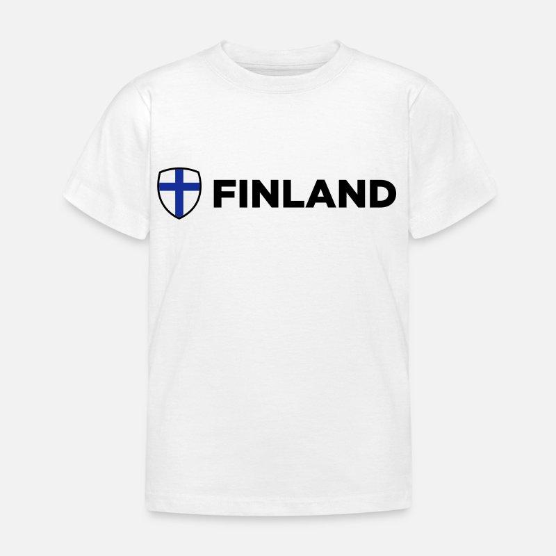 Suomi T-paidat - Kansallinen lippu Suomi - Lasten t-paita valkoinen 83d6e1f416