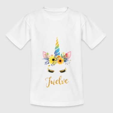 12th Birthday Girl Unicorn Unicorn Gift - Maglietta per bambini