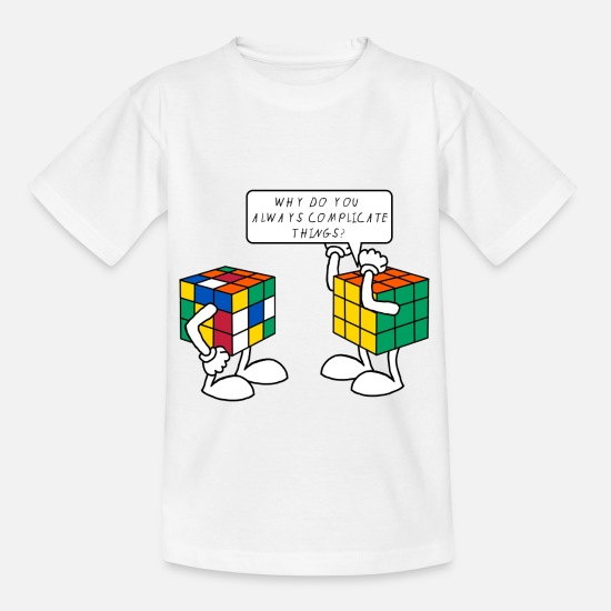 Funny T-Shirts - Rubik's Cube Humour Complicate Things - Kids' T-Shirt white