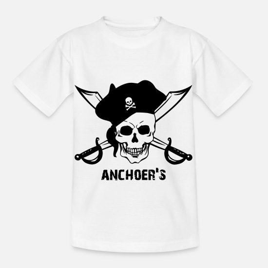 Ship T-Shirts - Pirate with saber, hat, skull - skull - pirate - Kids' T-Shirt white