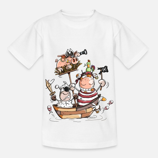 Contestwinners T-Shirts - Funny farm pirates - pirate - buccaneers - Kids' T-Shirt white