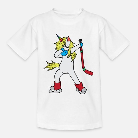 Hockey T-shirts - Unicorn Ice Hockey Ishockeyspelare Dab Gift - T-shirt barn vit