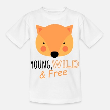Showers Young wild free funny fox kids baby saying - Kids' T-Shirt