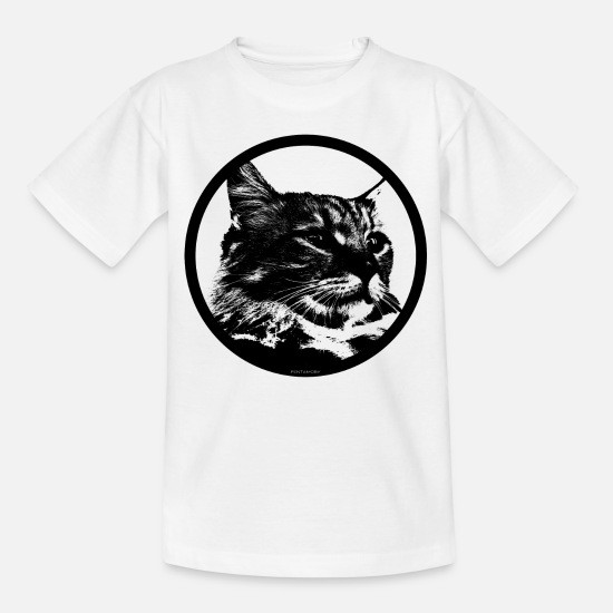 Amour Des Animaux T-shirts - STENCIL KITTY CAT LOVER (b) - T-shirt Enfant blanc