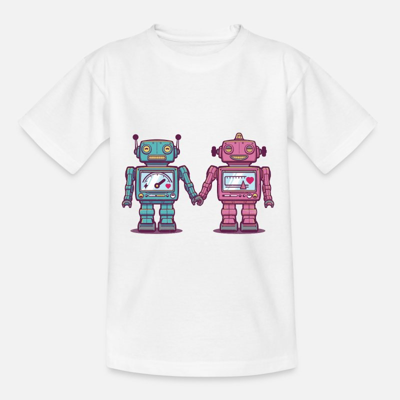 Collection For Kids T-shirt - kærlige Robotter - Børn T-shirt hvid