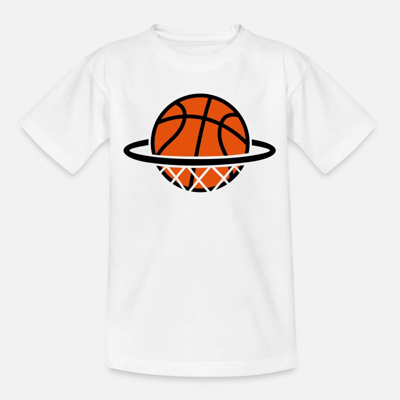 Basketbalteam T-Shirts -   Basketbal   - Kinderen T-shirt wit