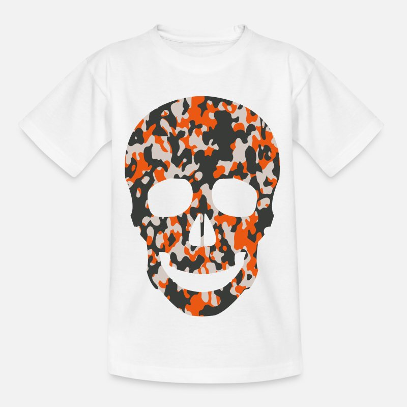 Spreadshirt T-Shirts - ORANGE CAMO SKULL TEES - Kids' T-Shirt white