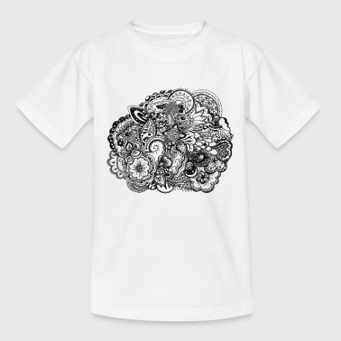 Black and white pen and ink doodle Bottles & Mugs - Kids' T-Shirt