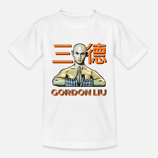 Warrior T-shirts - Gordon Liu - San Te Monk (Official) 6 dots - Kinderen T-shirt wit