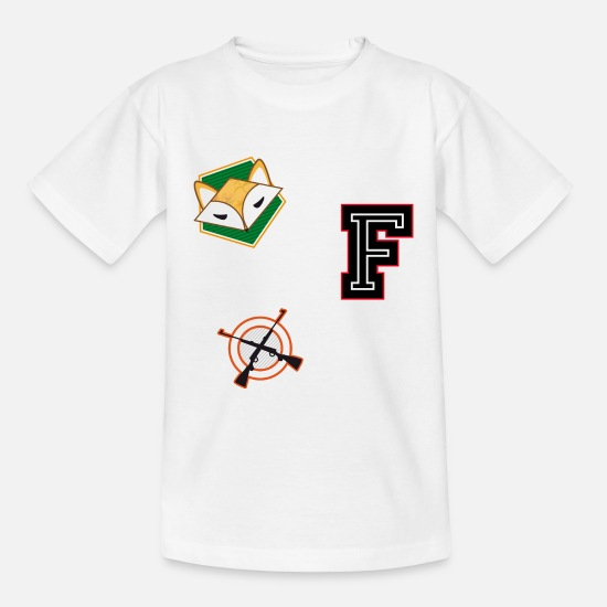 Varsity T-Shirts - Fox hunting patches - Kids' T-Shirt white
