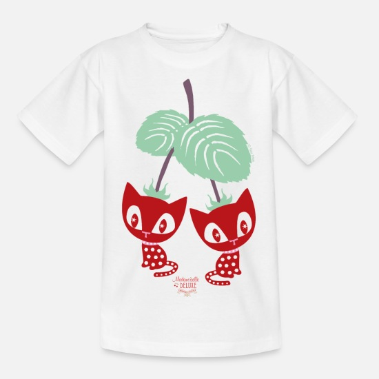 Cat T-Shirts - Mademoiselle Deluxe Strawberry Cats - Kids' T-Shirt white