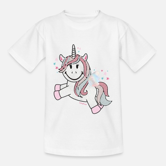 Glitter T-shirts - SmileyWorld Unicorn - Kinderen T-shirt wit