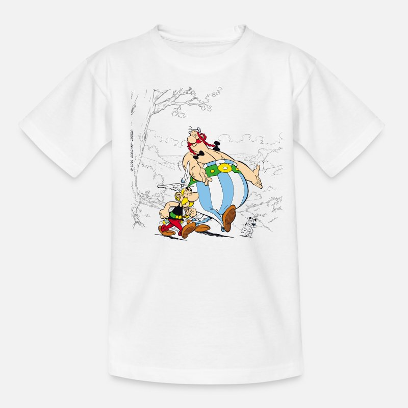 Officialbrands T-Shirts - Asterix & Obelix walk Kid's T-Shirt - Kids' T-Shirt white