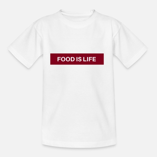 Essen T-Shirts - Food is life - Kids' T-Shirt white