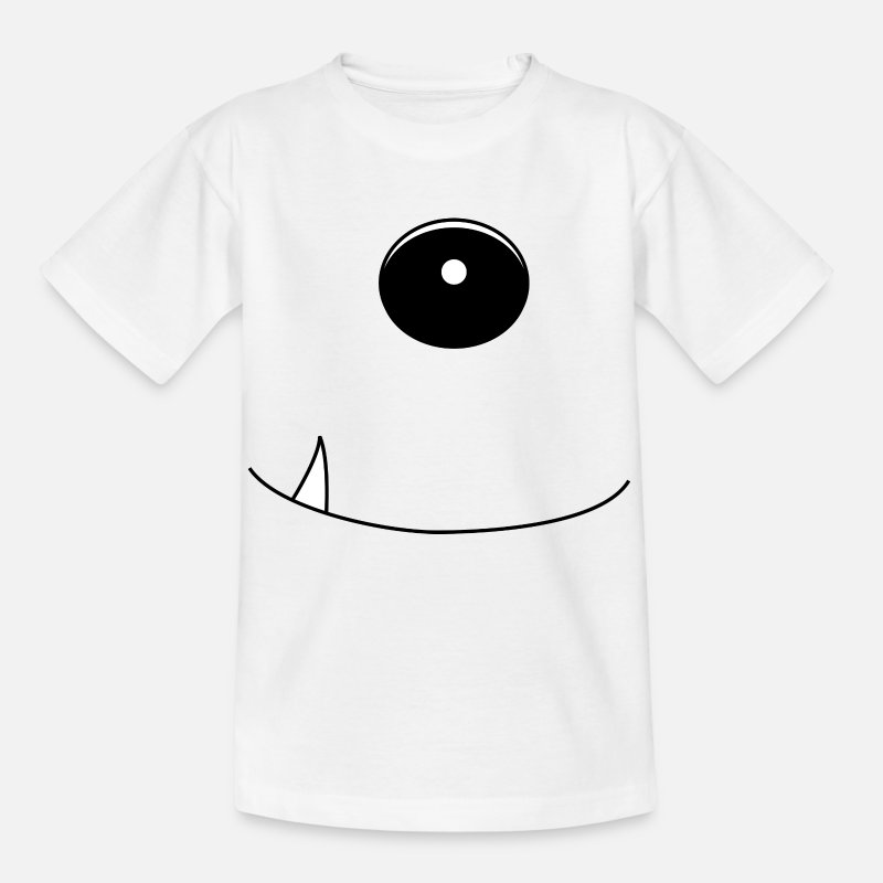 Grappige T-Shirts - 1 1 monster oog tand - Kinderen T-shirt wit