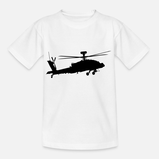Flight T-Shirts - Helicopter AH 64 Apache AH1 5 combat helicopter - Kids' T-Shirt white