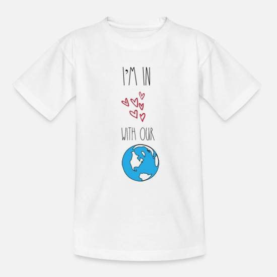 Enviromental T-Shirts - In love with our planet Earth environmentalists - Kids' T-Shirt white