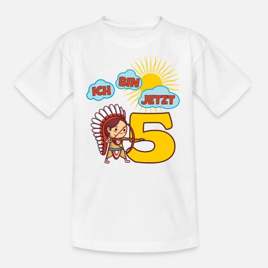 Birthday T-Shirts - I am now 5 years 5th birthday child Indian - Kids' T-Shirt white