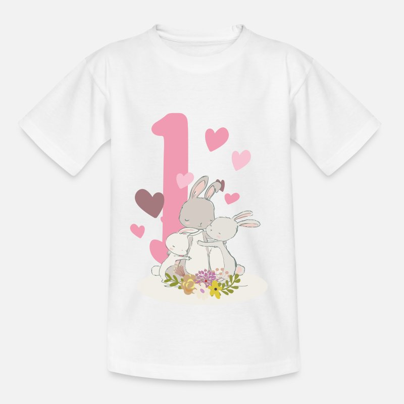 Birthday Number 1 Hare Family Kids T Shirt