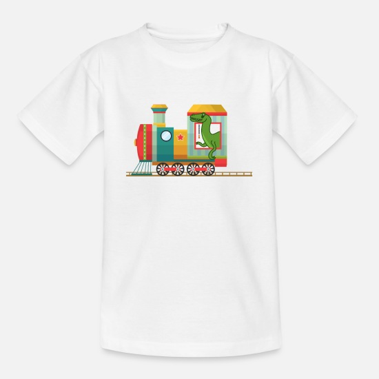 Railway T-Shirts - Railroad and Dino - Kids' T-Shirt white