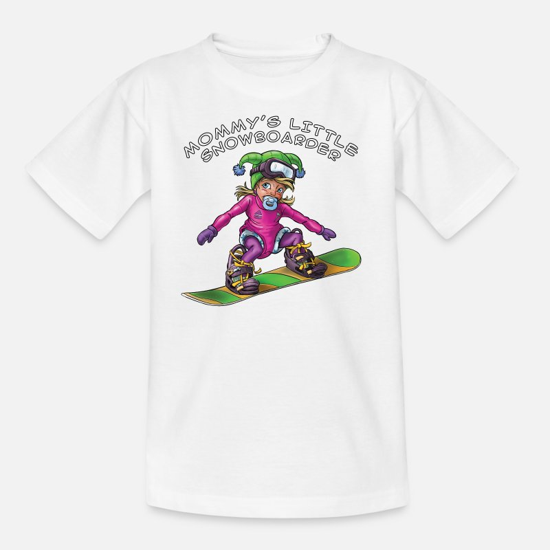 Snowboard T-Shirts - Mommy's little snowboarder - baby snowboarder - Kids' T-Shirt white