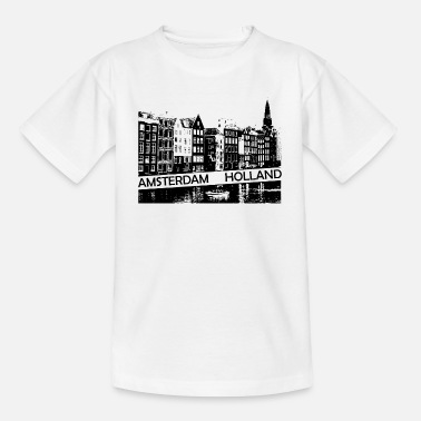 Amsterdam Canal, houses and boat Holland - Kids' T-Shirt