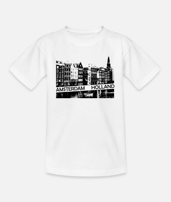 Travel Bug T-Shirts - Amsterdam Canal, houses and boat Holland - Kids' T-Shirt white